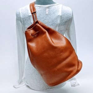 Hunt Club Thick Leather Bucket Sling Bag